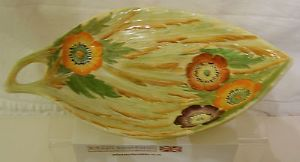 Carlton Ware Embossed Anemone Medium Sized Oval Tray with Carry Handle - 1930s